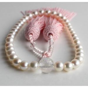 ホワイトピンク アコヤ真珠数珠6.5mm−7mm ピンク房 念珠|tamatyan