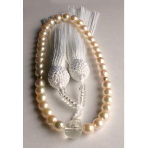 ホワイト アコヤ真珠数珠 6.5mm−7mm 伊勢志摩産 白房 真珠念珠|tamatyan