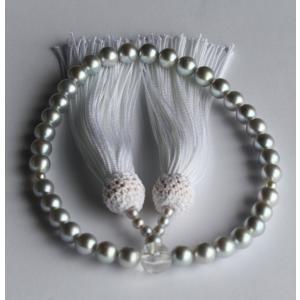 グレー アコヤ真珠 数珠 7-7.5mm 伊勢志摩産 白房 念珠|tamatyan