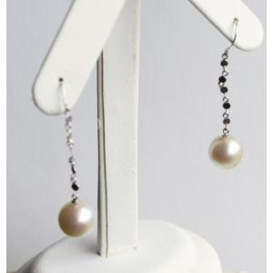 パール ぶら下がり ピアス ホワイトゴールド大珠アコヤ真珠 9.1mm 伊勢志摩産|tamatyan