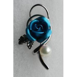 パールタックブローチ 青い薔薇 レディスアクセサリー 伊勢志摩産 アコヤ真珠|tamatyan