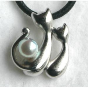2匹の(猫)ネコちゃん パール 携帯ストラップ 伊勢志摩産 アコヤ真珠付き  |tamatyan