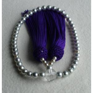 グレー アコヤ本真珠数珠(念珠)5.5mm−6mm 伊勢志摩産 紫房|tamatyan