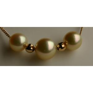 ナチュラル ゴールドパール3個 K18 ネックレス 伊勢志摩産アコヤ真珠|tamatyan