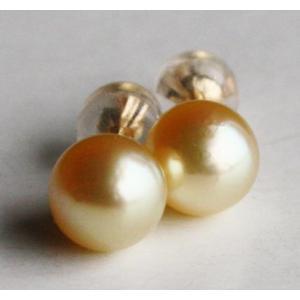 パール ピアス  K18 ナチュラルゴールド 7−7.5mm直結ピアス 伊勢志摩産 アコヤ真珠 |tamatyan