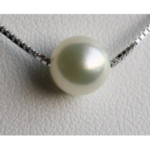 1粒スルーパールネックレス アコヤ真珠8-8.5mm 長さ調節タイプ 伊勢志摩産 |tamatyan