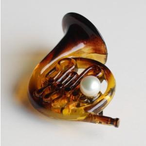 楽器 ホルン パールブローチ レディスアクセサリー 伊勢志摩産 アコヤ本真珠 |tamatyan