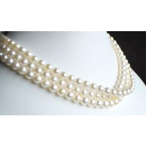 伊勢志摩産 アコヤ真珠 ホワイトロングパールネックレス 120cm 6.5-7mm|tamatyan