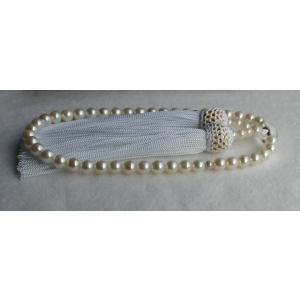 ホワイトピンク アコヤ真珠数珠(念珠)5.5mm−6mm 伊勢志摩産 白房 |tamatyan