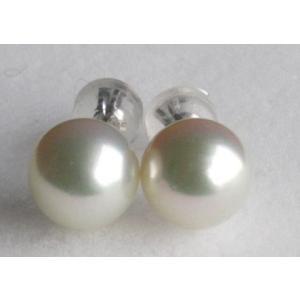 パールピアス ホワイトゴールド直結 8 -8.5mm グリーン 伊勢志摩産 アコヤ真珠 |tamatyan