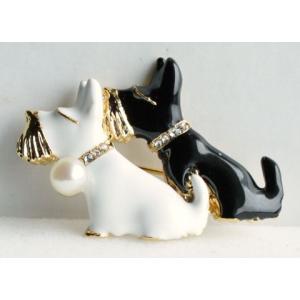 パールブローチ 2匹の犬 伊勢志摩産 アコヤ真珠付 tamatyan