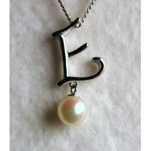 パールペンダント イニシャル E レディスアクセサリー 誕生日プレゼント 伊勢志摩産 あこや本真珠付き   |tamatyan