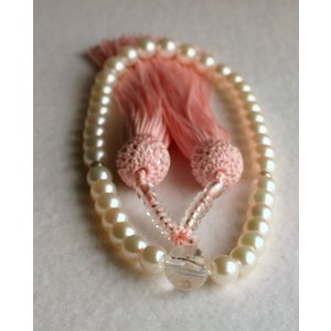 ホワイトピンクアコヤ真珠数珠 7-7.5mm 伊勢志摩産 ピンク房 念珠|tamatyan