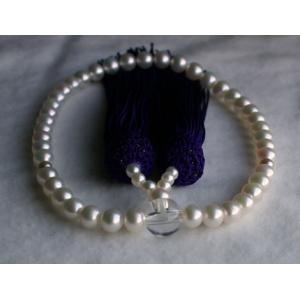 ホワイトグリーン アコヤ真珠数珠 念珠 6mm−6.5mm 伊勢志摩産 紫房|tamatyan