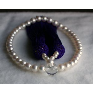 ホワイトピンク アコヤ真珠数珠 念珠 6mm−6.5mm 伊勢志摩産 紫房|tamatyan