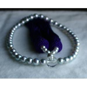 グレー アコヤ真珠数珠 念珠 6mm−6.5mm 伊勢志摩産 紫房|tamatyan