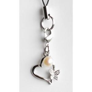 蝶とハート パール携帯ストラップ 伊勢志摩産 アコヤ真珠付き|tamatyan