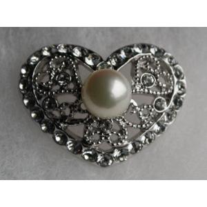 ハート タック ブローチ 伊勢志摩産 アコヤ真珠 とジルコニア付き 銀|tamatyan