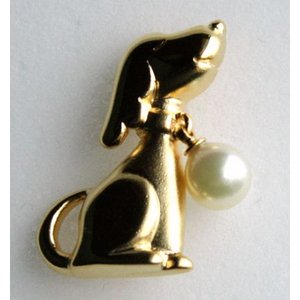 犬 パールタック ブローチ 伊勢志摩産 アコヤ真珠付き 金色 tamatyan