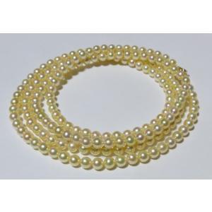 ロングパールネックレス ナチュラルゴールド 伊勢志摩産 アコヤ真珠 82cm 4-4.5mm|tamatyan