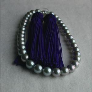 グレーアコヤ真珠 数珠 7-7.5mm 伊勢志摩産 紫房|tamatyan