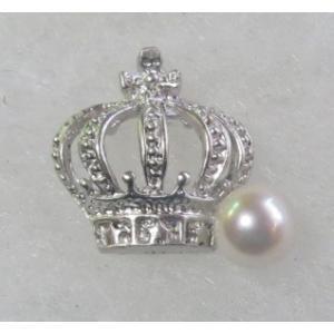 王冠 クラウン パール タック ブローチ 伊勢志摩産 アコヤ真珠 銀色 レディスアクセサリー ギフト  tamatyan