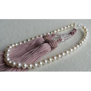 ホワイトピンク アコヤ本真珠数珠(念珠)5.5mm−6mm 新ピンク房 伊勢志摩産 |tamatyan