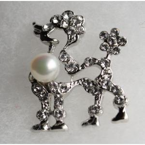 パール タック ブローチ プードル 銀色 伊勢志摩産 アコヤ真珠 ジルコニア付き tamatyan