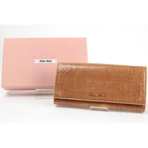 二つ折り長財布 ミュウミュウ ブラウン 型押し 83108|tamaya78