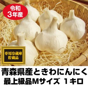 にんにく 青森県産 ときわ産 最上級品 Mサイズ 1kg 18-23玉前後 令和元年産 新物|tamenobu-store
