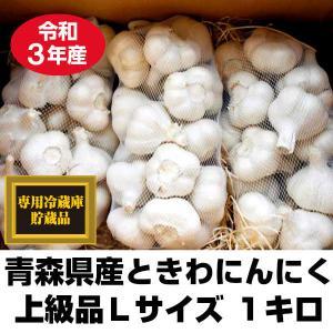 にんにく 青森県産 ときわ産 上級品 Lサイズ 1kg 14-17玉前後 令和元年産 新物|tamenobu-store