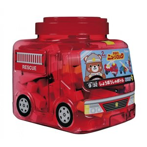 はじめてのブロックあそびに最適な大きくて柔らかいパーツが特徴のニューブロックに赤透明の消防車型の目を...