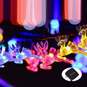 Amilliastyle イルミネーションライト ソーラーパネル クリスマス Xmas パーティー 夏祭りなどイベント大活躍 (トナカイ,|tamurashop