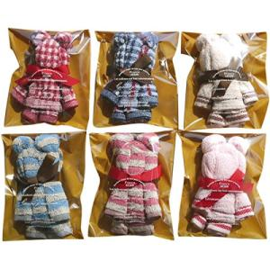 タオルの萩原 可愛いタオルハンカチで作った手造りベアー(クマ)6個セット 色柄おまかせ ラッピング袋入り ベア6P|tamurashop