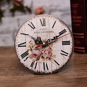 北欧風 アンティーク ミニ クロック (フラワー) おしゃれ かわいい レトロ 掛け時計 置き時計 インテリア tamurashop