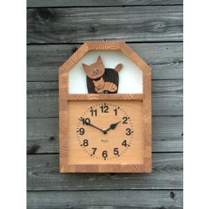 「キコリの時計」 木の振子時計 ネコの親子の時計 tamurashop