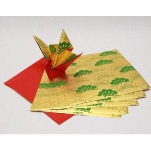 ゆしまの小林 メタルカラーおりがみ 金<メタル三階松>×赤 24cm×24cm 5枚入|tanabata-kikuchi
