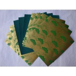ゆしまの小林 メタルカラーおりがみ 金<メタル三階松>×緑 17cm×17cm 10枚入|tanabata-kikuchi