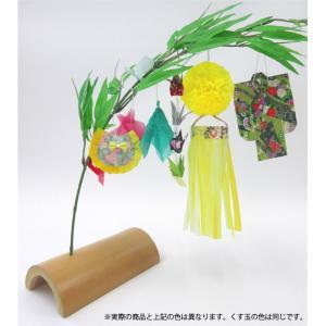 仙台七夕飾り ミニ七夕完成品 黄 竹台付|tanabata-kikuchi