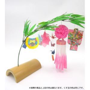 仙台七夕飾り ミニ七夕完成品 桃 竹台付|tanabata-kikuchi