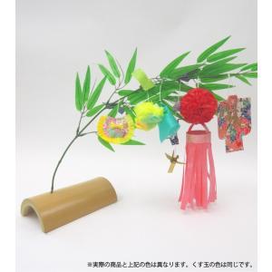 仙台七夕飾り ミニ七夕完成品 赤 竹台付|tanabata-kikuchi
