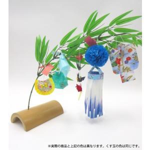 仙台七夕飾り ミニ七夕完成品 青 竹台付|tanabata-kikuchi