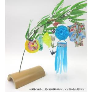 仙台七夕飾り ミニ七夕完成品 水色 竹台付|tanabata-kikuchi