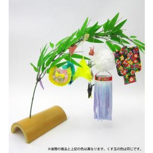 仙台七夕飾り ミニ七夕完成品 白 竹台付|tanabata-kikuchi