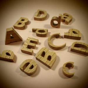 木製切文字アルファベット(英字) 欅2.5cmの木の文字|tanakahorutun