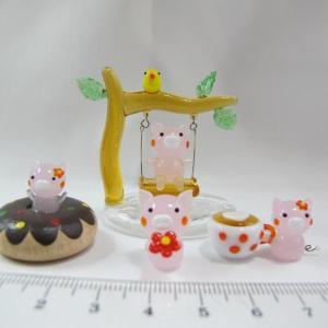 ミニチュアガラス細工  ぶたさんセット|tandtshop-ink