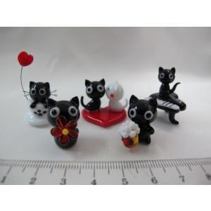 ミニチュアガラス細工  黒猫セット|tandtshop-ink