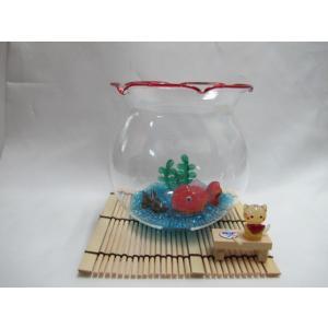 ミニチュアガラス細工  涼しさUP!金魚鉢に黒出目金&ランチュウと縁台スイカ猫|tandtshop-ink