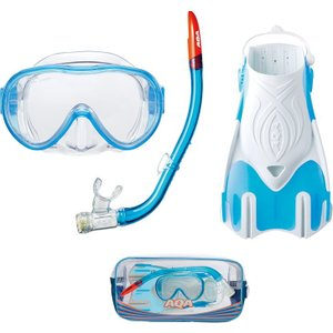 AQA 女性用 スノーケリング3点セット ライト(M)  KZ-9212 エラストマー素材  旅行用|tanida
