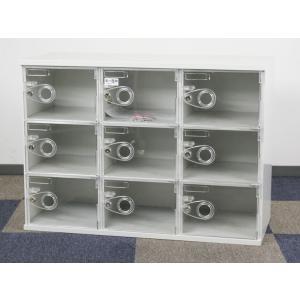 9人用ロッカー 3列3段 鍵付き ロッカー スチール収納 扉がクリアタイプだから使用中が分かります 中古ロッカー  アウトレット|tanimachi008